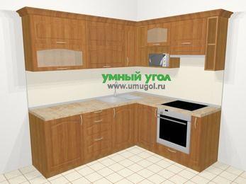 Угловая кухня МДФ матовый в классическом стиле 6,2 м², 2200 на 1800 мм (зеркальный проект), Вишня, верхние модули 720 мм, верхний модуль под свч, встроенный духовой шкаф