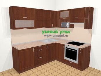 Угловая кухня МДФ матовый в классическом стиле 6,2 м², 220 на 180 см (зеркальный проект), Вишня темная, верхние модули 72 см, верхний модуль под свч, встроенный духовой шкаф