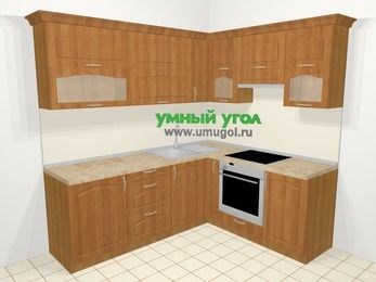 Угловая кухня МДФ матовый в классическом стиле 6,2 м², 2200 на 1800 мм (зеркальный проект), Вишня, верхние модули 720 мм, встроенный духовой шкаф