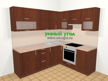 Угловая кухня МДФ матовый в классическом стиле 6,2 м², 220 на 180 см (зеркальный проект), Вишня темная, верхние модули 72 см, встроенный духовой шкаф