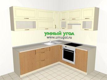 Угловая кухня из МДФ + ЛДСП 6,2 м², 2200 на 1800 мм (зеркальный проект), Ваниль / Ольха, верхние модули 720 мм, встроенный духовой шкаф