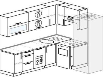 Угловая кухня 6,2 м² (2,2✕1,8 м), верхние модули 720 мм, посудомоечная машина, холодильник, отдельно стоящая плита