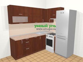 Угловая кухня МДФ матовый в классическом стиле 6,2 м², 220 на 180 см (зеркальный проект), Вишня темная, верхние модули 72 см, посудомоечная машина, холодильник, отдельно стоящая плита