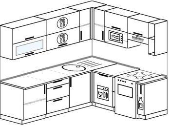 Угловая кухня 6,2 м² (2,2✕1,8 м), верхние модули 720 мм, посудомоечная машина, верхний модуль под свч, отдельно стоящая плита