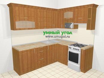 Угловая кухня МДФ матовый в классическом стиле 6,2 м², 2200 на 1800 мм (зеркальный проект), Вишня, верхние модули 720 мм, посудомоечная машина, верхний модуль под свч, отдельно стоящая плита