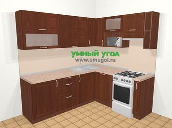 Угловая кухня МДФ матовый в классическом стиле 6,2 м², 220 на 180 см (зеркальный проект), Вишня темная, верхние модули 72 см, посудомоечная машина, верхний модуль под свч, отдельно стоящая плита
