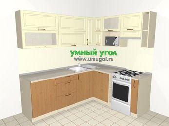 Угловая кухня из МДФ + ЛДСП 6,2 м², 2200 на 1800 мм (зеркальный проект), Ваниль / Ольха, верхние модули 720 мм, посудомоечная машина, верхний витринный модуль под свч, отдельно стоящая плита