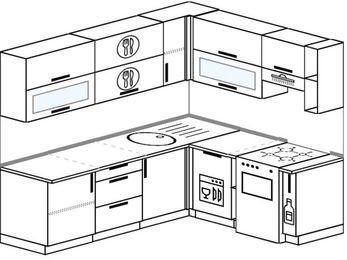 Планировка угловой кухни 6,2 м², 2200 на 1800 мм (зеркальный проект): верхние модули 720 мм, посудомоечная машина, отдельно стоящая плита, корзина-бутылочница