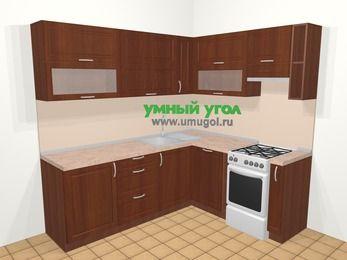 Угловая кухня МДФ матовый в классическом стиле 6,2 м², 220 на 180 см (зеркальный проект), Вишня темная, верхние модули 72 см, посудомоечная машина, отдельно стоящая плита