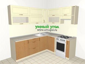 Угловая кухня из МДФ + ЛДСП 6,2 м², 2200 на 1800 мм (зеркальный проект), Ваниль / Ольха, верхние модули 720 мм, посудомоечная машина, отдельно стоящая плита