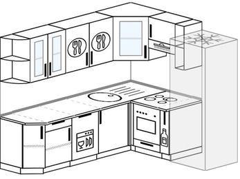 Планировка угловой кухни 6,2 м², 220 на 180 см (зеркальный проект): верхние модули 72 см, посудомоечная машина, встроенный духовой шкаф, корзина-бутылочница, холодильник