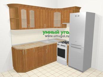 Угловая кухня МДФ матовый в классическом стиле 6,2 м², 2200 на 1800 мм (зеркальный проект), Вишня, верхние модули 720 мм, холодильник, отдельно стоящая плита