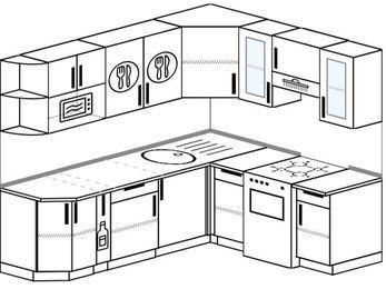 Планировка угловой кухни 6,2 м², 2200 на 1800 мм (зеркальный проект): верхние модули 720 мм, корзина-бутылочница, отдельно стоящая плита, модуль под свч