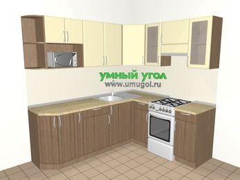 Угловая кухня МДФ матовый 6,2 м², 2200 на 1800 мм (зеркальный проект), Ваниль / Лиственница бронзовая, верхние модули 720 мм, модуль под свч, отдельно стоящая плита