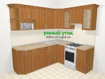 Угловая кухня МДФ матовый в классическом стиле 6,2 м², 220 на 180 см (зеркальный проект), Вишня, верхние модули 72 см, модуль под свч, отдельно стоящая плита