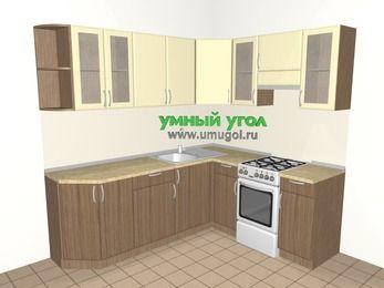 Угловая кухня МДФ матовый 6,2 м², 2200 на 1800 мм (зеркальный проект), Ваниль / Лиственница бронзовая, верхние модули 720 мм, отдельно стоящая плита
