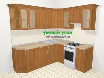 Угловая кухня МДФ матовый в классическом стиле 6,2 м², 220 на 180 см (зеркальный проект), Вишня, верхние модули 72 см, отдельно стоящая плита