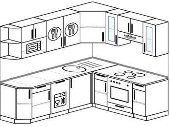 Угловая кухня 6,2 м² (2,2✕1,8 м), верхние модули 72 см, посудомоечная машина, модуль под свч, встроенный духовой шкаф