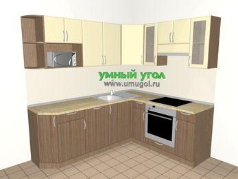 Угловая кухня МДФ матовый 6,2 м², 2200 на 1800 мм (зеркальный проект), Ваниль / Лиственница бронзовая, верхние модули 720 мм, посудомоечная машина, модуль под свч, встроенный духовой шкаф
