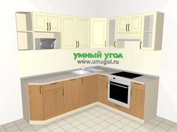 Угловая кухня из МДФ + ЛДСП 6,2 м², 2200 на 1800 мм (зеркальный проект), Ваниль / Ольха, верхние модули 720 мм, посудомоечная машина, модуль под свч, встроенный духовой шкаф