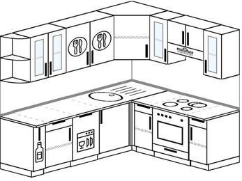 Угловая кухня 6,2 м² (2,2✕1,8 м), верхние модули 72 см, посудомоечная машина, встроенный духовой шкаф