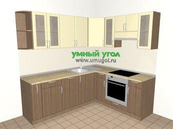 Угловая кухня МДФ матовый 6,2 м², 2200 на 1800 мм (зеркальный проект), Ваниль / Лиственница бронзовая, верхние модули 720 мм, посудомоечная машина, встроенный духовой шкаф