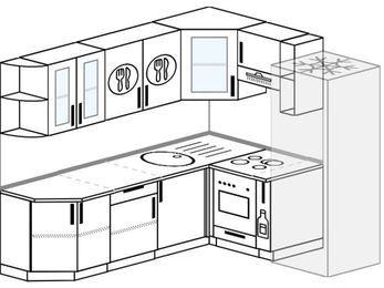 Планировка угловой кухни 6,2 м², 220 на 180 см (зеркальный проект): верхние модули 72 см, встроенный духовой шкаф, корзина-бутылочница, холодильник
