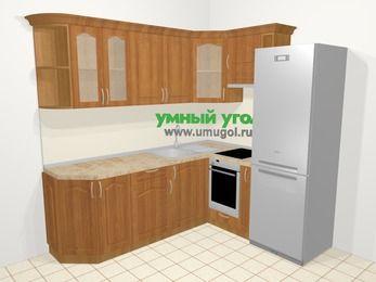 Угловая кухня МДФ матовый в классическом стиле 6,2 м², 2200 на 1800 мм (зеркальный проект), Вишня, верхние модули 720 мм, встроенный духовой шкаф, холодильник