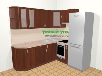 Угловая кухня МДФ матовый в классическом стиле 6,2 м², 220 на 180 см (зеркальный проект), Вишня темная, верхние модули 72 см, встроенный духовой шкаф, холодильник
