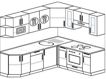 Угловая кухня 6,2 м² (2,2✕1,8 м), верхние модули 72 см, модуль под свч, встроенный духовой шкаф