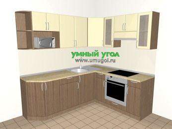Угловая кухня МДФ матовый 6,2 м², 2200 на 1800 мм (зеркальный проект), Ваниль / Лиственница бронзовая, верхние модули 720 мм, модуль под свч, встроенный духовой шкаф
