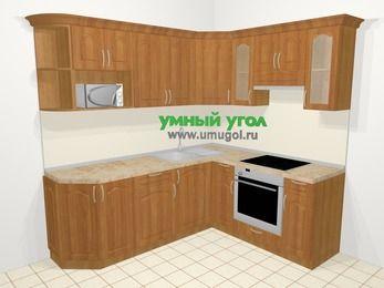Угловая кухня МДФ матовый в классическом стиле 6,2 м², 220 на 180 см (зеркальный проект), Вишня, верхние модули 72 см, модуль под свч, встроенный духовой шкаф