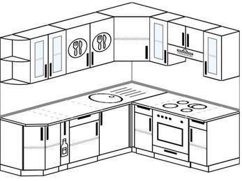 Угловая кухня 6,2 м² (2,2✕1,8 м), верхние модули 720 мм, встроенный духовой шкаф