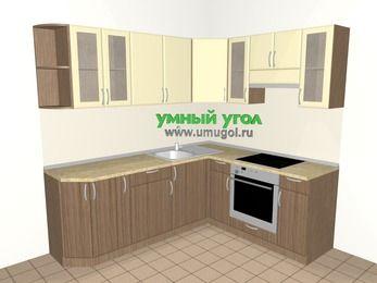 Угловая кухня МДФ матовый 6,2 м², 2200 на 1800 мм (зеркальный проект), Ваниль / Лиственница бронзовая, верхние модули 720 мм, встроенный духовой шкаф