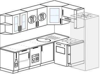 Планировка угловой кухни 6,2 м², 220 на 180 см (зеркальный проект): верхние модули 72 см, корзина-бутылочница, посудомоечная машина, отдельно стоящая плита, холодильник