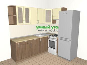 Угловая кухня МДФ матовый 6,2 м², 2200 на 1800 мм (зеркальный проект), Ваниль / Лиственница бронзовая, верхние модули 720 мм, посудомоечная машина, холодильник, отдельно стоящая плита