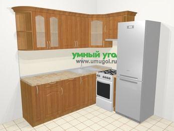 Угловая кухня МДФ матовый в классическом стиле 6,2 м², 2200 на 1800 мм (зеркальный проект), Вишня, верхние модули 720 мм, посудомоечная машина, холодильник, отдельно стоящая плита