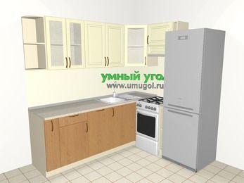 Угловая кухня из МДФ + ЛДСП 6,2 м², 2200 на 1800 мм (зеркальный проект), Ваниль / Ольха, верхние модули 720 мм, посудомоечная машина, холодильник, отдельно стоящая плита
