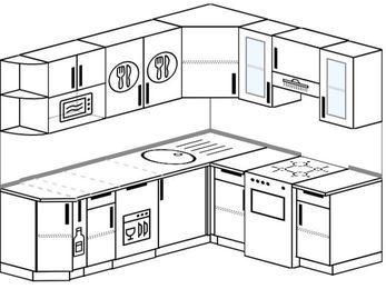 Угловая кухня 6,2 м² (2,2✕1,8 м), верхние модули 720 мм, посудомоечная машина, модуль под свч, отдельно стоящая плита