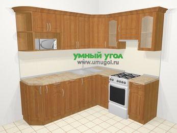 Угловая кухня МДФ матовый в классическом стиле 6,2 м², 220 на 180 см (зеркальный проект), Вишня, верхние модули 72 см, посудомоечная машина, модуль под свч, отдельно стоящая плита