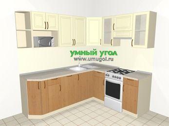 Угловая кухня из МДФ + ЛДСП 6,2 м², 2200 на 1800 мм (зеркальный проект), Ваниль / Ольха, верхние модули 720 мм, посудомоечная машина, модуль под свч, отдельно стоящая плита