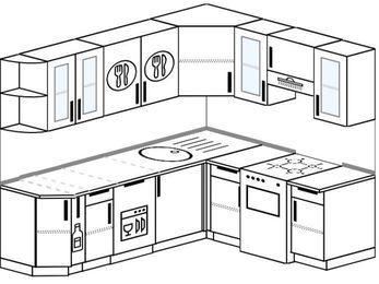 Планировка угловой кухни 6,2 м², 2200 на 1800 мм (зеркальный проект): верхние модули 720 мм, корзина-бутылочница, посудомоечная машина, отдельно стоящая плита