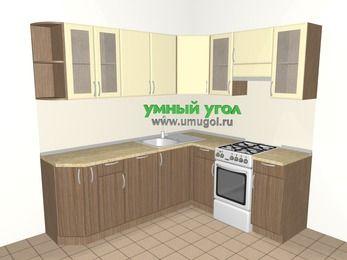 Угловая кухня МДФ матовый 6,2 м², 2200 на 1800 мм (зеркальный проект), Ваниль / Лиственница бронзовая, верхние модули 720 мм, посудомоечная машина, отдельно стоящая плита
