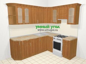 Угловая кухня МДФ матовый в классическом стиле 6,2 м², 220 на 180 см (зеркальный проект), Вишня, верхние модули 72 см, посудомоечная машина, отдельно стоящая плита