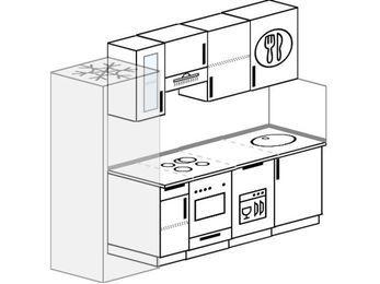 Планировка прямой кухни 5,0 м², 230 см: верхние модули 72 см, холодильник, встроенный духовой шкаф, посудомоечная машина