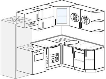 Угловая кухня 5,7 м² (2,3✕1,6 м), верхние модули 72 см, посудомоечная машина, холодильник, отдельно стоящая плита