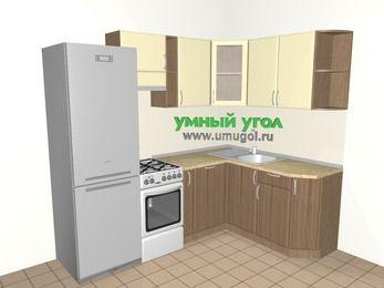 Угловая кухня МДФ матовый 5,7 м², 2300 на 1600 мм, Ваниль / Лиственница бронзовая, верхние модули 720 мм, посудомоечная машина, холодильник, отдельно стоящая плита