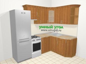 Угловая кухня МДФ матовый в классическом стиле 5,7 м², 230 на 160 см, Вишня, верхние модули 72 см, посудомоечная машина, холодильник, отдельно стоящая плита