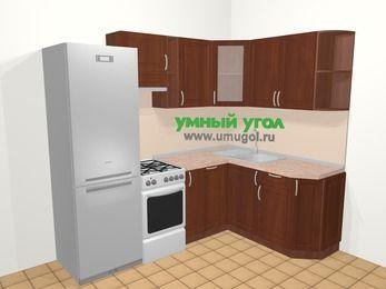 Угловая кухня МДФ матовый в классическом стиле 5,7 м², 230 на 160 см, Вишня темная, верхние модули 72 см, посудомоечная машина, холодильник, отдельно стоящая плита
