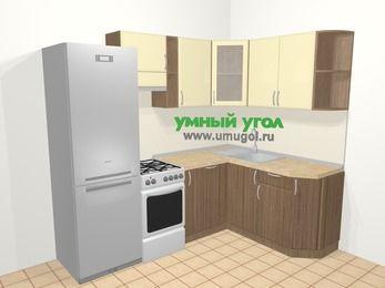 Угловая кухня МДФ матовый в современном стиле 5,7 м², 230 на 160 см, Ваниль / Лиственница бронзовая, верхние модули 72 см, посудомоечная машина, холодильник, отдельно стоящая плита